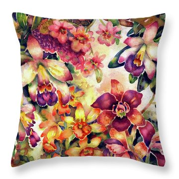 Orchid Garden II Throw Pillow