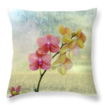Orchid In Portrait Throw Pillow