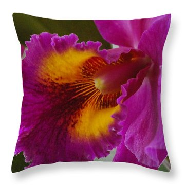 Throw Pillow featuring the photograph Orchid In The Wild by Debbie Karnes