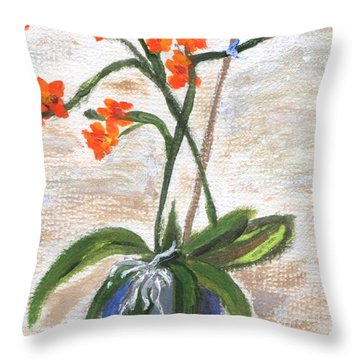 Throw Pillow featuring the painting Orchid by Jamie Frier