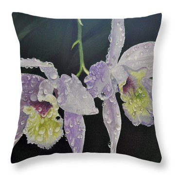 Throw Pillow featuring the painting Orchid Jewels by AnnaJo Vahle