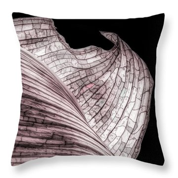Orchid Leaf Macro Throw Pillow