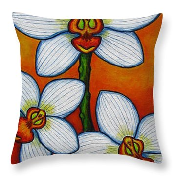 Orchid Oasis Throw Pillow by Lisa  Lorenz