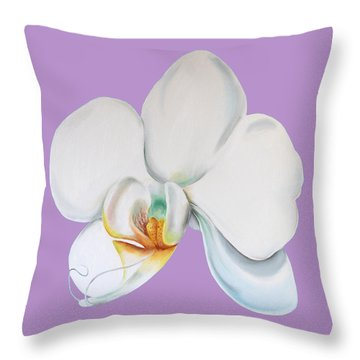 Throw Pillow featuring the digital art Orchid On Lilac by Elizabeth Lock
