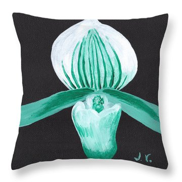 Orchid-paphiopedilum Bob Nagel Throw Pillow by M Valeriano
