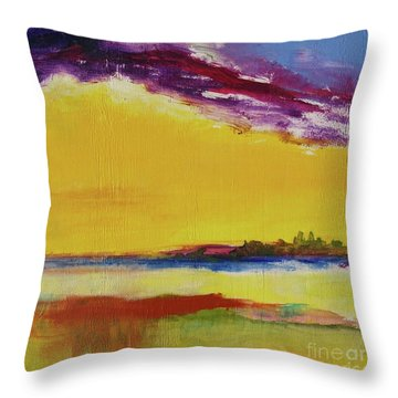 Throw Pillow featuring the painting Orchid Sky by Robin Maria Pedrero
