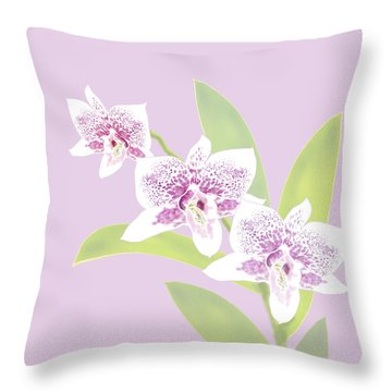 Orchid Trio - Lavender Throw Pillow