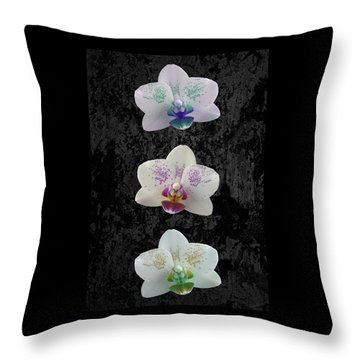 Orchid Trio Throw Pillow by Hazy Apple