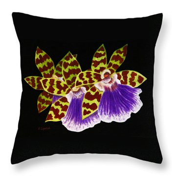 Throw Pillow featuring the painting Orchids - Jumping Jacks With Black Background by Kerri Ligatich