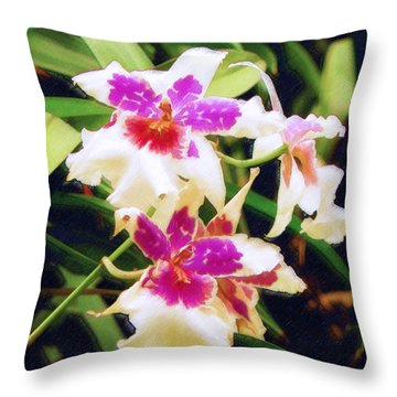 Throw Pillow featuring the painting Orchids 1 by Sandy MacGowan