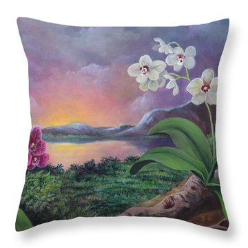Orchids And Mystery Throw Pillow