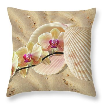 Orchids And Shells On The Beach Throw Pillow by Gill Billington