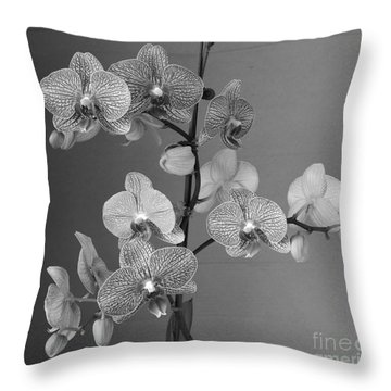 Orchids Black And White Throw Pillow