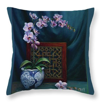 Throw Pillow featuring the painting Orchids In A Chinese Pot by Jane Bucci