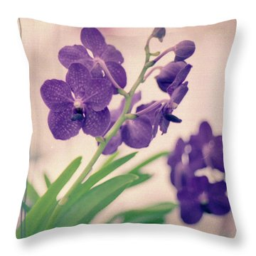 Throw Pillow featuring the photograph Orchids In Purple  by Ana V Ramirez