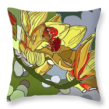 Orchids In Sunlight Throw Pillow