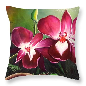 Orchids In The Night Throw Pillow