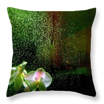 Orchids In The Rain Throw Pillow by Shirley Sirois