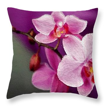 Orchids In Violets Throw Pillow