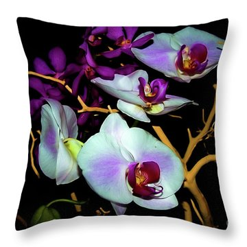 Throw Pillow featuring the photograph Orchids In Water Color by Diana Mary Sharpton