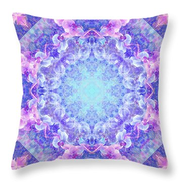 Orchids Mandala Throw Pillow