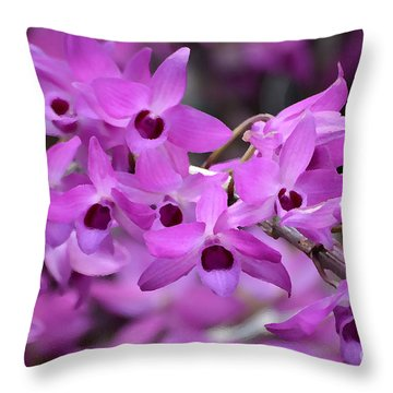 Orchids Paint Throw Pillow