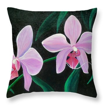 Throw Pillow featuring the painting Orchids by Susan DeLain