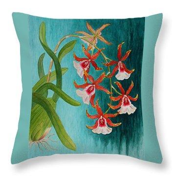 Orchids - Volcano Queen Throw Pillow by Kerri Ligatich