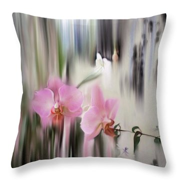 Orchids With Dragonflies Throw Pillow