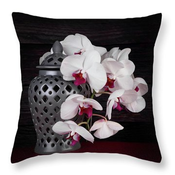 Orchids With Gray Ginger Jar Throw Pillow