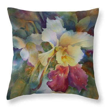 Orchidstrated Throw Pillow by Tara Moorman