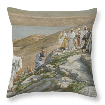 Ordaining Of The Twelve Apostles Throw Pillow by Tissot