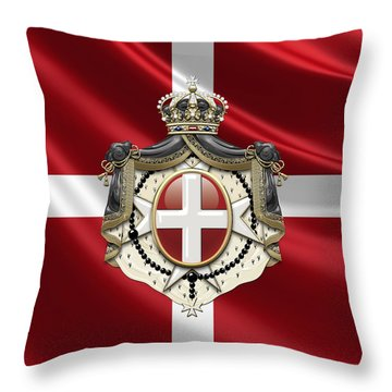 Order Of Malta Coat Of Arms Over Flag Throw Pillow