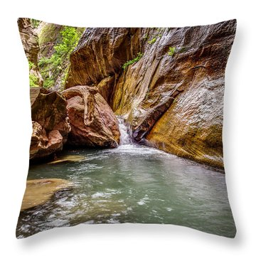 Orderville Canyon Waterfall Zion National Park Throw Pillow