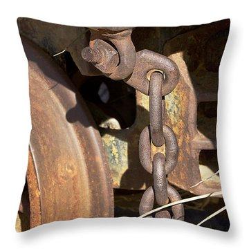 Ore Car Chain Throw Pillow by Phyllis Denton