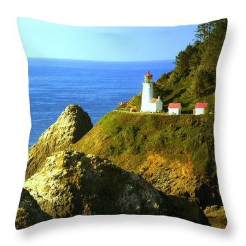 Oregan Lighthouse Throw Pillow by Marty Koch