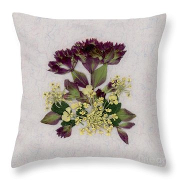 Oregano Florets And Leaves Pressed Flower Design Throw Pillow