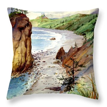 Throw Pillow featuring the painting Oregon Coast #3 by John Norman Stewart