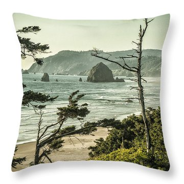 Oregon Coast At Sunset Throw Pillow