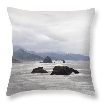 Oregon Coast Mountain Clouds Landscape Throw Pillow by Andrea Hazel Ihlefeld