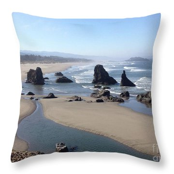 Oregon Coast Sea Stacks Throw Pillow