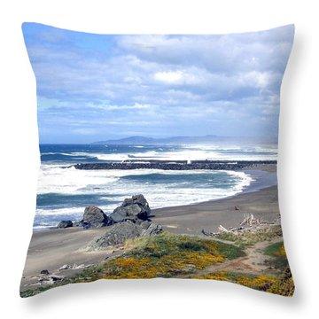 Oregon Coast Throw Pillow by Will Borden