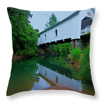 Oregon Covered Bridge Throw Pillow