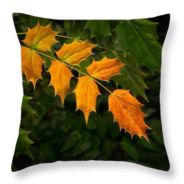 Oregon Grape Autumn Throw Pillow
