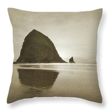 Oregon Haystack Rock Beach Rustic Landscape Throw Pillow by Andrea Hazel Ihlefeld