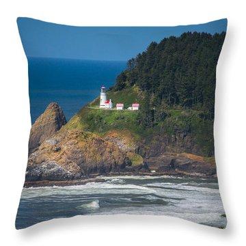 Oregon Heceta Head Lighthouse  Throw Pillow by Michael J Bauer
