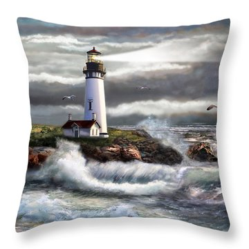 Oregon Lighthouse Beam Of Hope Throw Pillow