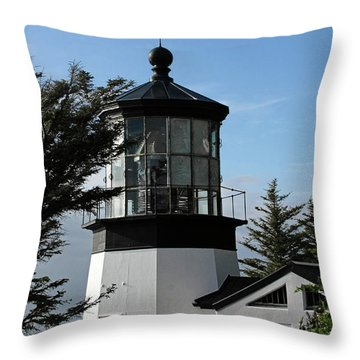 Oregon Lighthouses - Cape Meares Lighthouse Throw Pillow by Christine Till