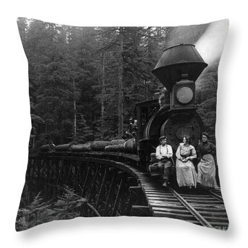 Oregon: Logging Train Throw Pillow by Granger