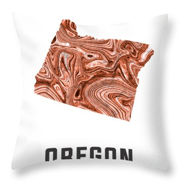 Oregon Map Art Abstract In Brown Throw Pillow